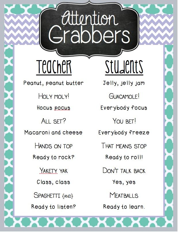 tips for a talkative class com attention grabbers
